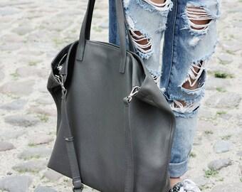 DOMI - Top Zip Grey Leather Tote Bag