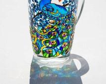 Peacock Wedding Favors, Peacock Decor, Large Coffee Mug, Hand painted Peacock Cup, Christmas gift mug