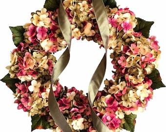 Spring Wreaths   Hydrangea Wreath   Blended Hydrangea Flowers   Front Door Wreaths   Fall Wreath   Summer Wreath