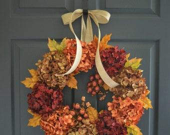 Fall Wreath | Hydrangea Wreath | Wreaths | Fall Decor | Front Door Wreaths | Autumn Door Wreath | Door Wreath | Outdoor Fall Wreaths