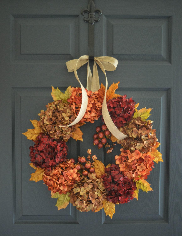 Fall Wreath Hydrangea Wreath Wreaths Fall Decor Front