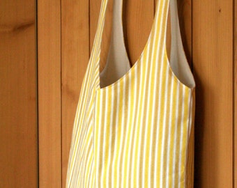 summer tote with tie-handles - yellow and tan stripes with natural cotton lining