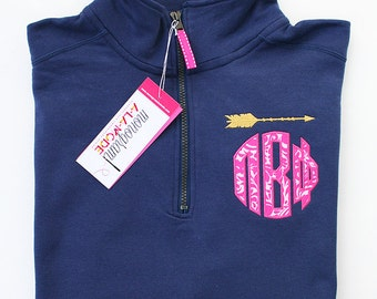 1/4 Zip Pi Beta Phi Greek Letter Monogram Sweatshirt with Gold Arrow