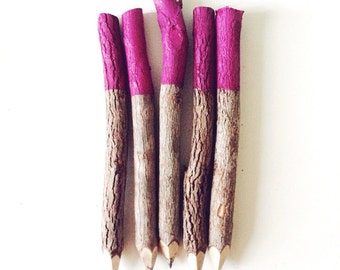 Plum Twig Pencils (x5) // Party Favours, Stationery Lover, Self Care, Pick Me Up, Stationery Set, Gift for Writer, Gift for Journalist