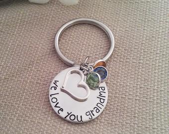 Grandma Keychain | Grandmother Birthstone Key Chain | Key Chain Gift For Nana or Mimi | We Love You Grandma