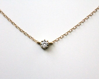 Tiny Solitaire Necklace / 14k Gold Fill or Sterling Silver Necklace / CZ Necklace / Simple Solitaire