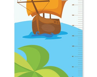 Pirates Growth Chart | Children's Personalised Canvas Height Chart