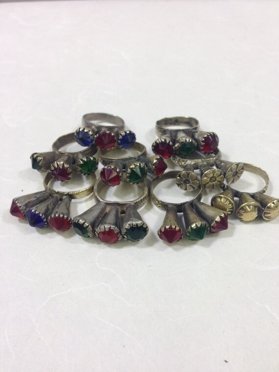 Ring Middle Eastern Red Blue Silver Glass 3 Prong Handmade Handcrafted Red Blue Green Silver Statement Fun Unique Tribal Rings Tribal