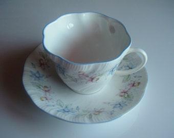 Vintage Queen's Fine Bone China Tea Cup & Saucer Set Claire, England