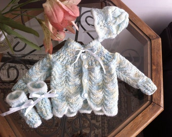 Hand Knitted baby set blue, white and cream with sweater, hat and booties