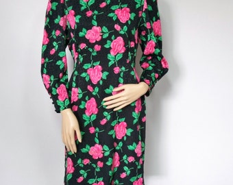 1980's Vintage Dress Rose Floral Dress Silky Fitted Stylish Wiggle Dress Black Pink Lined Long Sleeved Classy Party Dress Size Small