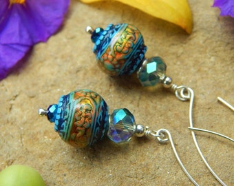 Moody Blues Earrings - Fabulous Color-Changing Mood Beads w Sparkly Crystals, Sterling Accents & Long Handmade Sterling Silver Ear Wires