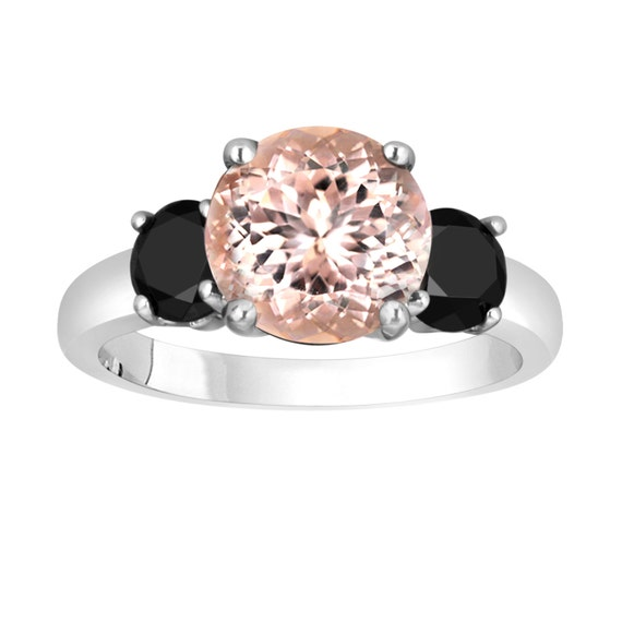 Pink Morganite and Black Diamond Three Stone Engagement Ring