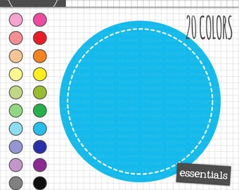 Stitched Circle Digital Frames, Round Digital Label Clipart, Printable Labels, Scrapbook Clip Art, Instant Download, Commercial
