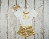 Glitter gold first birthday shirt- Babies first birthday- Gold Girls Birthday outfit- Glitter gold bodysuit- one crawler-2nd birthday outfit