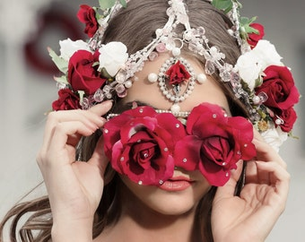 NEW! Oversized HONEYMOON Face Mask Fashion Statement Silk Rose Flower Stunner Shades Sunglasses in Pink  Rose or Red Rose