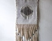 SOLD - Woven Wall Hanging: Tapestry Weaving in Neutrals (Black and Gray) with Hand Dyed Wool Yarn and Linen Thread