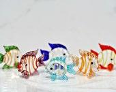 Glass Fish Set Of 6 Fish Figurines Fish Tank Decor Mini Fish Vase Filler Tiny Fish Glass Fish Set Beach Wedding Decor Hand Blown Glass Fish
