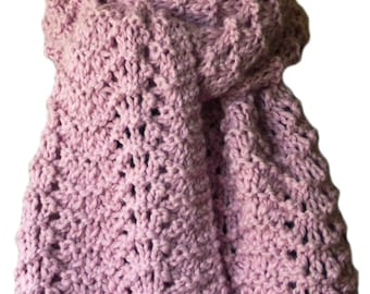 Hand Knit Scarf - Pink Feather & Fan Alpaca Lace
