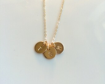 Three Gold Initial Necklace, Three Gold filled Initial Charm Necklace, Gold Filled Chain, Mother's Day Gift, Three Gold Initial Necklace
