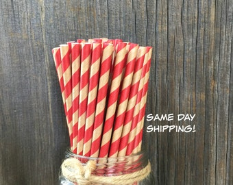 100 Red and Kraft Straws, Rustic Wedding, Birthday, Cake Pops
