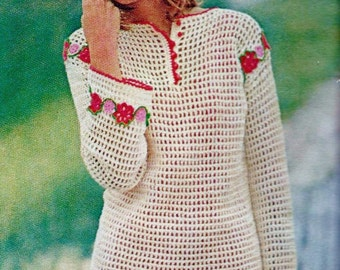 Filet Mesh Tunic Top Vintage Crochet Pattern Download