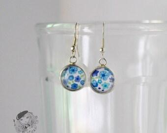 Blue flower earrings. Gift for her. Womens gift.  Flower art glass drop earrings. Floral dangle earrings. Spring earrings. Gift for women.