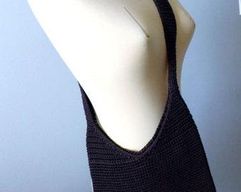Boho Crocheted Hobo Bag - Brown Rayon Knitted Messenger Bag - Cross-body Travel Handbag