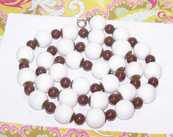 Brown Bead Necklace / White & Brown Bead Strand / Beaded Necklace