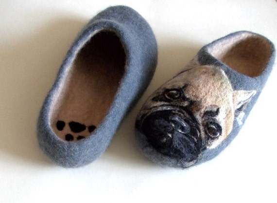 Felt painted Wool slippers French bull Dog lover gift Custom dog portrait Pet portrait Personalized dog art