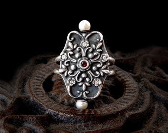 Pearl Renaissance Ring: 999 Fine Silver, white CZ, red CZ, PMC, Art Clay Silver, pure silver, filigree ring, metal clay, size 8.5
