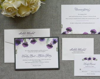 Purple Pocket Invitations Flower Wedding Invitation Watercolor Invite Rustic