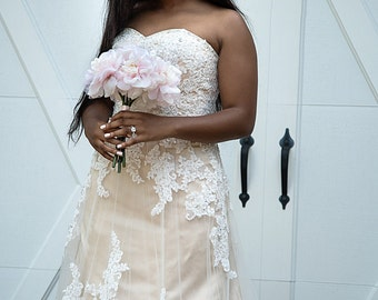 Wedding Dress in Champagne and Ivory French Lace Handmade to your measurements Aline Style with Train