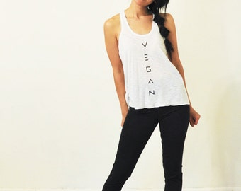 Vegan Tank Top: White Racer Back ( XS / S / M )