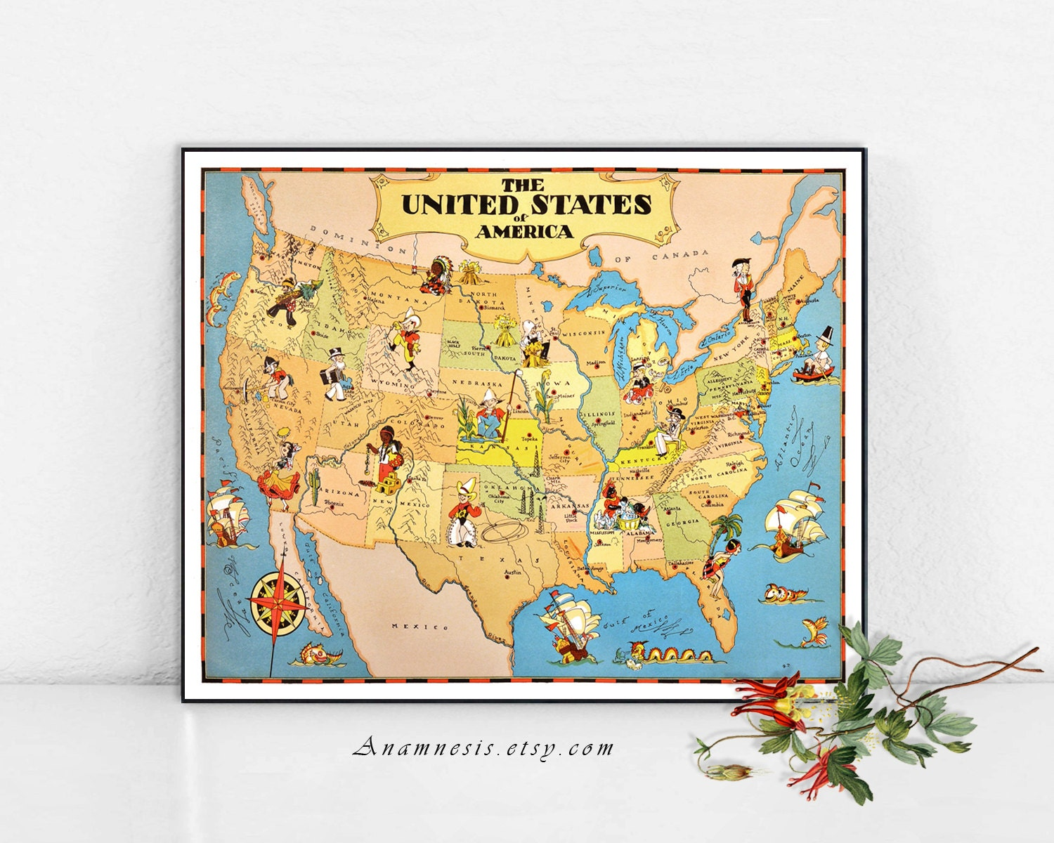 United States Map Picture Frame.United States Map Print Digital Download Vintage By Anamnesis