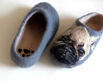 French Bulldog Felt Art Slippers Unisex Adult Mismatched Shoes Custom Dog Portrait Frenchie lover gift