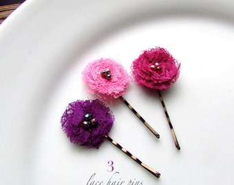 Toddler Hair Accessories, Tiny Fabric Hair clip for Toddler Girl Hair Pin Shabby Flower Bobby, Pink and Purple, Mini Clips Children Babies