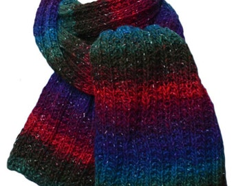Hand Knit Scarf - Boku Fuschia, Teal & Royal Blue Stripe Wool Silk