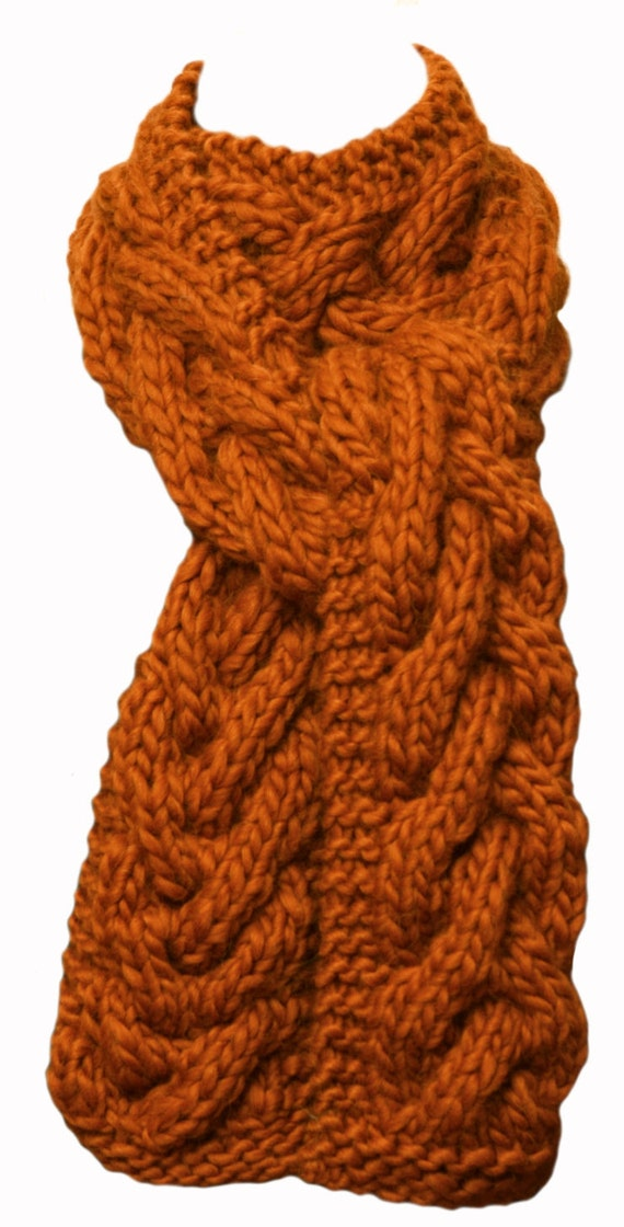 Knitting Patterns Alpaca Chunky : Hand Knit Scarf Cayenne Orange Chunky Cable Alpaca