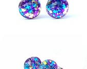 Fantasy stud earrings, post earrings, small stud, resin earrings, tiny stud, gift for her, purple, gold and blue, earring stud