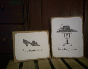 """Country French 9""""x12"""" & 8""""x10"""" La Chaussure (the shoe) and Le Chapeau (the hat)  Burlap Canvases"""