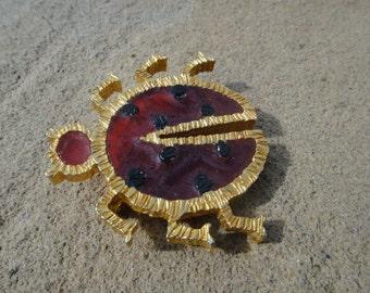 Vintage UNIQUE Statement Vintage Red Gold Tone Lady Bug Vintage Brooch Pin