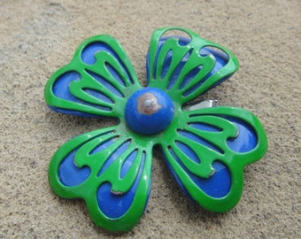 Vintage Green and Blue Flower Pin Pendant