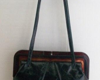 SALE 25% OFF 29.99 NOW 22.50 Ruth Saltz Shiny Black Crinkle Tortoise Plastic Frame Shoulder Purse~Vintage Mod
