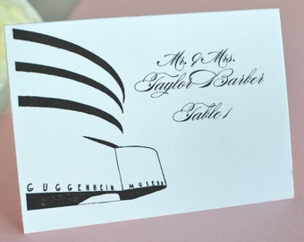 Guggenheim Museum, New York Skyline Place Cards Personalized with Guests Names (Sold in sets of 25 Cards)