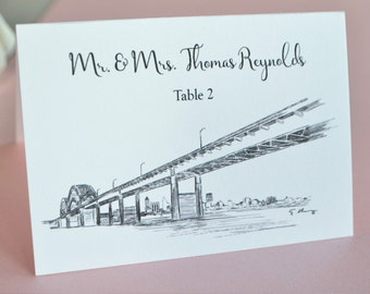 Memphis Bridge Skyline Place Cards Personalized with Guests Names (Sold in sets of 25 Cards)