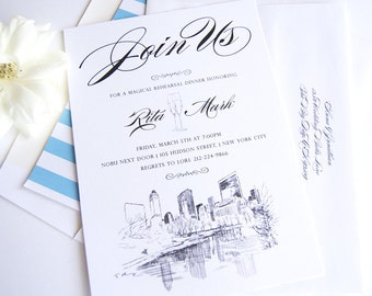 Central Park, New York Skyline Hand Drawn Rehearsal Dinner Invitations (set of 25 cards)