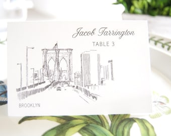 Brooklyn Skyline Folded Place Cards (Set of 25 Cards)