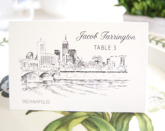 Indianapolis Skyline Folded Place Cards (Set of 25 Cards)