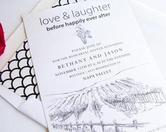Napa Valley Skyline Weddings Rehearsal Dinner Invitations (set of 25 cards)